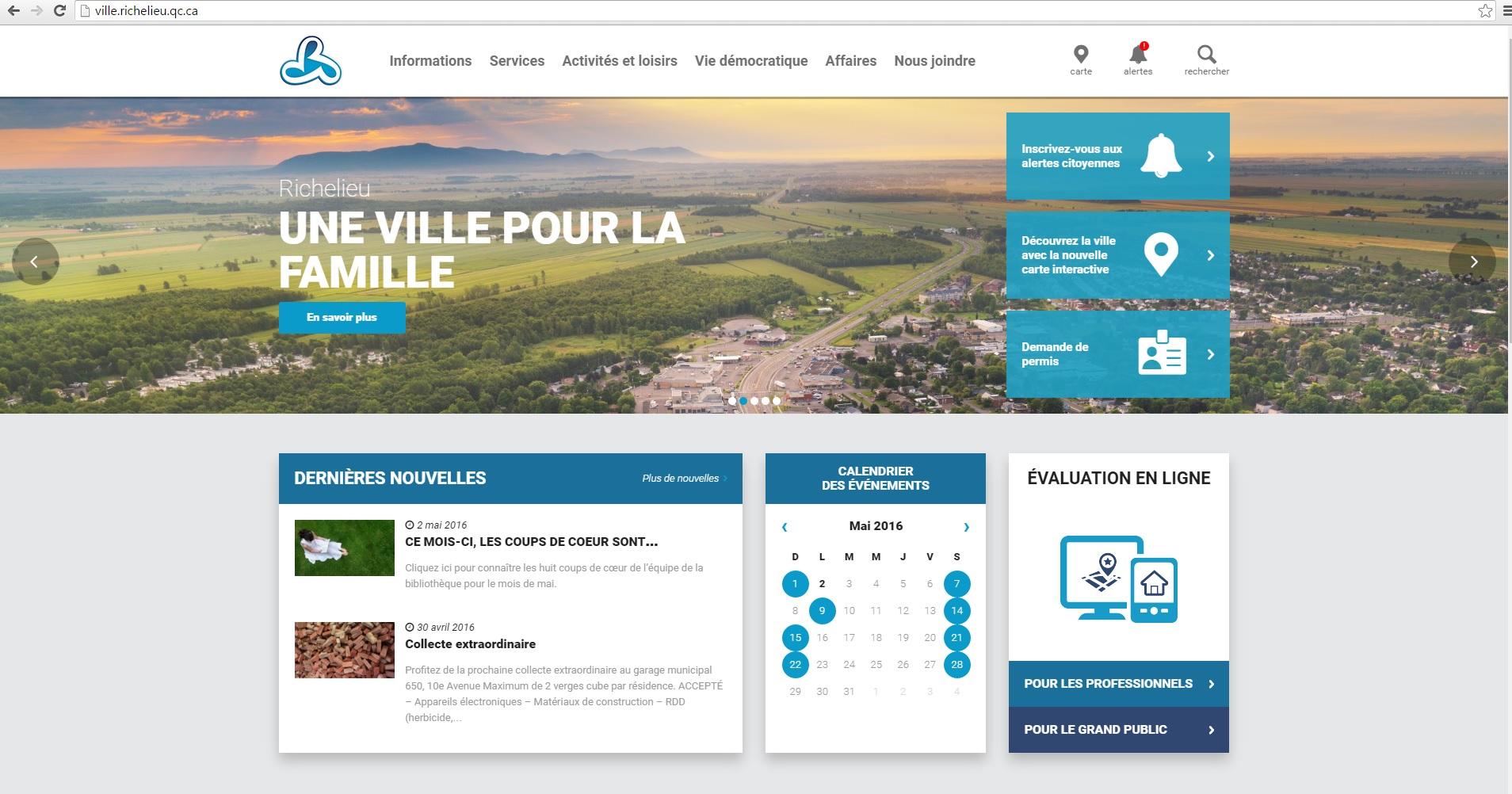 Capture d_écran site Web Ville de Richelieu