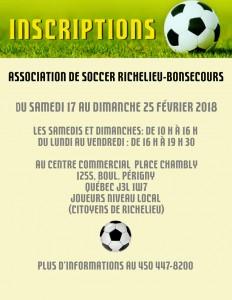Liste des activités soccer