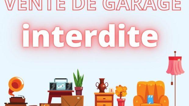 VENTE DE GARAGE INTERDITE